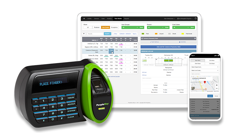 PeopleKey Devices - software and finger scanner hardware